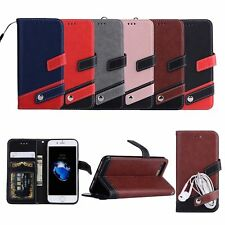 Fashion Hybrid Leather Wallet With Strap Card Slot Cover Case For Apple iPhone