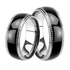 His and Hers Matching Black Wedding Bands Rings Cheap