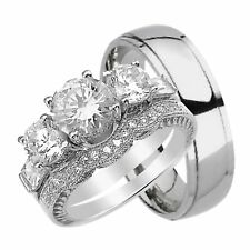 His Hers Trio Wedding Rings Set Sterling Silver Titanium Bands for Him Her