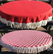 """Vintage Midcentury Red 66"""" or Checked 54"""" Fringe Round Picnic Tablecloth K1"""