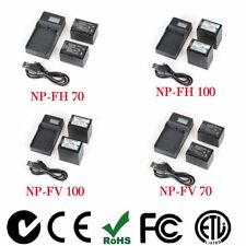 2X NP-FH70/NP-FH100/NP-FV70/NP-FV100 Battery + LCD Charger For Sony Camera LN