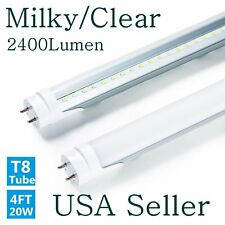4 Foot T8 Bulbs 20W LED Tube Light Lamp Double-End Power CLEAR, MILKY LENS US TO