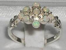 Unusual Solid 925 Sterling Silver Natural Fiery Opal Ring with English Hallmarks