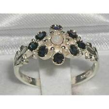 Unusual 925 Sterling Silver Natural Opal & Sapphire Ring with English Hallmarks