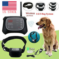 Wireless Electric Pet Fence Containment System Transmitter Collar Waterproof USA