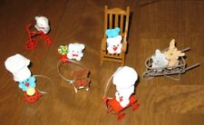 Ornaments Teddy Bears Moose Panda Mouse Red Chair, Wagon, Tricycle, Sled New