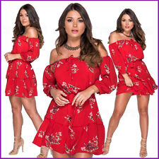 New Womens Skater Dress Floral Bardot Tie Waist Off the Shoulder Swing Ladies  ❤