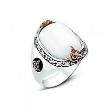 STERLING 925 SILVER HANDMADE JEWELRY ELEGANT AGATE MENS RING