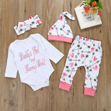 Kids Clothes Newborn Baby Girl Letter Romper Top+Pants+Hat+Headband Outfits Set