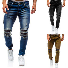 Men's Ripped Skinny Jeans Destroyed Hole Frayed Long Pants Washed Denim Trousers