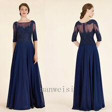 Navy Mother Of The Bridal Dress Lace Beads Floor Length Prom Evening Formal Gown
