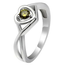 Christine Sterling Silver August Olive Green CZ Birthstone Engagement Ring
