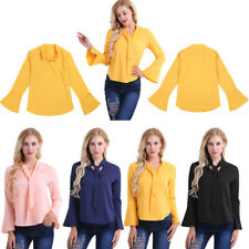 Chiffon Tie-bow Casual  V Neck Shirt New Women Long Sleeve Blouses Summer Tops