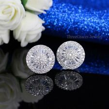 18K WHITE GOLD GF MADE WITH SWAROVSKI CRYSTAL STUD EARRINGS 925 SILVER