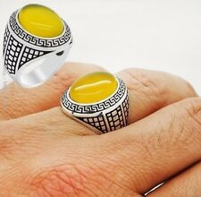 STERLING 925 SILVER HANDMADE MENS JEWELRY YELLOW AGATE  MEN'S RING
