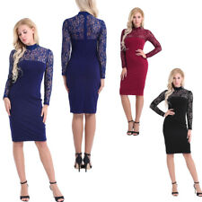 Women Casual Lace Splice Bodycon Pencil Dress Cocktail Evening Short Mini Dress
