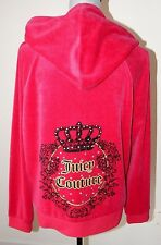 NWT WOMEN'S JUICY COUTURE VELOUR HOODIE CROWN RED GLITTER RHINESTONE LOGO LARGE