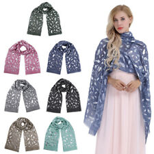 Women Cotton Oversized Glittery Foil Feather Printed Scarf Shawl Stole Neck Wrap
