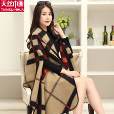 Luxury Brand Plaid Cashmere Blend Winter Woman Poncho Scarf Female Oversized