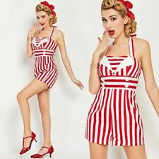US stock Vintage 1950s Red and White Striped Beach Romper pinup jumpsuit