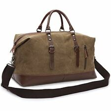 Duffle Travel Bag Veckle Canvas Duffel PU Leather Luggage Carry-on for Weekend