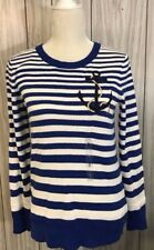 NWT Tommy Hilfiger Womens Anchor Stripe Long Pullover Top Sweater Medium Small