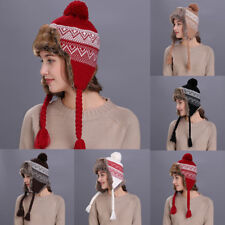 Warm Winter Women Hats With Ear Flaps Snow Ski Thick Knit Wool Beanie Cap Hat