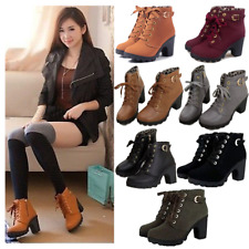 Women Chunky Ankle Boots High Block Heel Lace Up Buckle Zip Platform Shoes Size