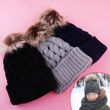 Newborn Girls Boys Kids Beanie Baby Knitted Hat Pom Pom Ball Wool Fur 3 Color