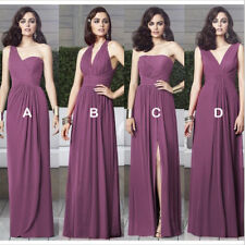 Purple Long Chiffon Bridesmaid Dresses Maid of Honor Dress Wedding Party Gown
