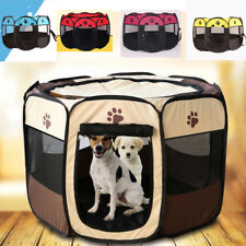 Pet Dog Cat Playpen Tent Portable Exercise Fence Kennel Cage Folding Crate US