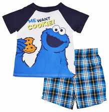 Sesame St. Toddler Boys Cookie Monster T-Shirt Shorts 2pc Set Outfit