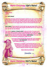 Girls Personalised Letter From Santa / Father Christmas with North Pole envelope