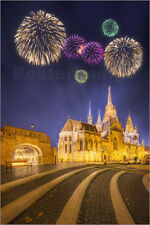 Poster Beautiful fireworks under Fishermen's bastion in Budapest, Hungary