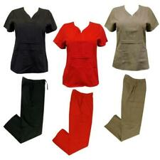 Chic Flex Solid Medical Nursing Scrub Set Top Cargo Pants Clinic Hospital New