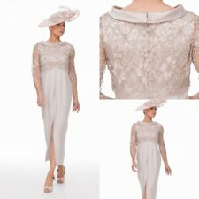 Champagne Mother Of Bride Dress Lace Chiffon 3/4 Sleeve Tea Length Formal Gown