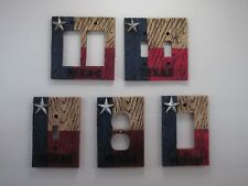 Western Barn Wood Texas State Flag Red White Blue Switch Plate Outlet Covers