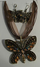 Butterfly Gold Plated Necklace Earrings Green Blue Purple Black Red Purple