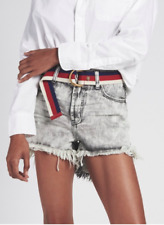 One Teaspoon Hawks High Waist Denim Shorts- Harley Acid Grey