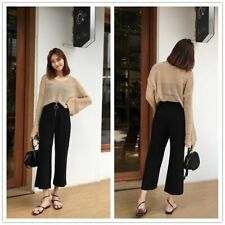 Women Loose Wide Leg Flare Pants Stretchy Elastic Casual Leisure Trousers LN