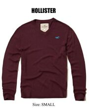 Abercrombie & Fitch Hollister Men's V Neck Icon Pullover Sweater S Burgundy NEW