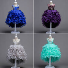 Girls Tutu Flower Dress Wedding Princess Pageant Birthday Party Baptism Formal
