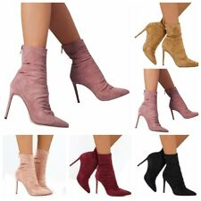 Womens Zipper Suede Stiletto High Heel Boots Pointed Toe Ankle Boots Shoes Size