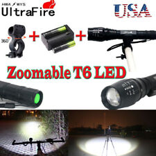 US!20000LM Zoom XMLT6 LED 5Mode Flashlight Torch Lamp+18650battery+charger+clip