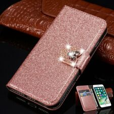 Bling Crystal Diamond Flip Stand Leather Case Cover Wallet For iPhone Samsung