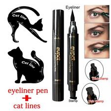3Pcs Dual-ended Eyeliner Pen With Stamp+Cat Eyeshadow Ruler Template Card DQUS