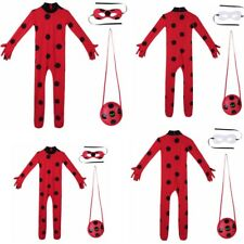 Girls Kids Ladybug Cosplay Costume Party Carnival Fancy Dress Jumpsuit Set 5-12Y