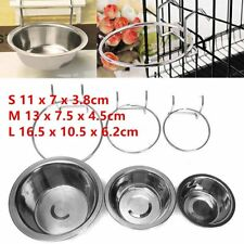 Stainless Steel Hanging Bowl Feeding Bowl Pet Bird Dog Food Water Cage Cup ##