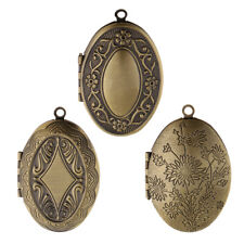 Ethnic Antique Bronze Flower Photo Picture Frame Charm Oval Shape Locket Pendant