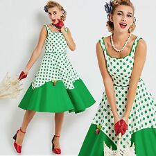 Vintage 50s rockabilly pinup Green and White Polkadot Swing Dress unique